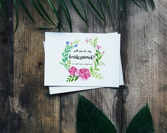 """Floral Wreath Bridesmaid Card 6x4"""" Flowers - Will You Be My Bridesmaid?"""