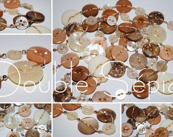 Sepia photo Double - Button necklace