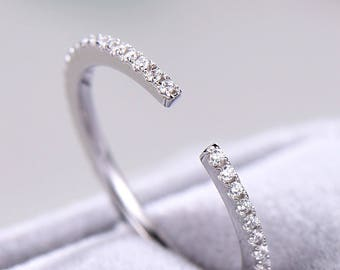 CZ Wedding Band Women White Gold Plated Sterling Silver Open Pave Eternity Stacking Bridal Ring Anniversary Matching Ring Cubic Zircon Thin