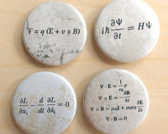 "Physics Equation 1.5"" Magnet Set of 4, Gift for Physics Major, Science Refrigerator Magnet"