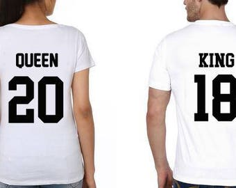 KING and QUEEN shirts Couples shirts Matching Shirts King queen shirt Queen king shirts GIFT for her King Queen shirts Couple matching shirt