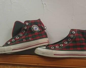 Vintage 90'S Chuck Taylor USA tartan Plaid Converse Shoes Sneakers bells sz ladies 6 or Boys 4