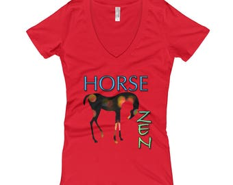 Horse Zen..., Womens V-Neck T-shirt