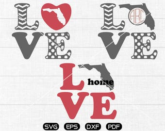 LOVE Florida Svg, Florida Clipart, FL State Monogram Frame cricut, cameo, silhouette cut files commercial & personal use