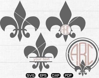 Fleur de Lis SVG, Fleur de Lis Clipart, Monogram cricut, silhouette cut files commercial use