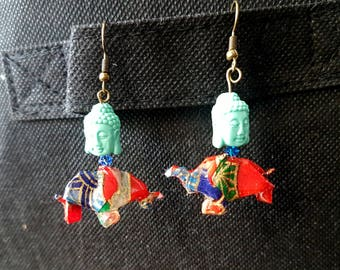 Elephant origami and Buddha earrings