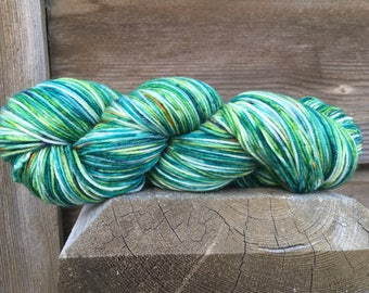 Green Everywhere! A hand painted Sock yarn, One of a kind Dot Dye