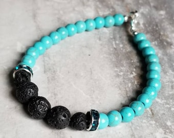 Genuine Turquoise Diffuser Bracelet with Swarovski accents