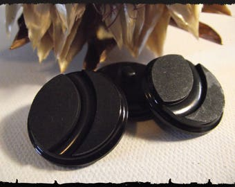 3 buttons black circle 27 mm 2,7 cm foot Couture