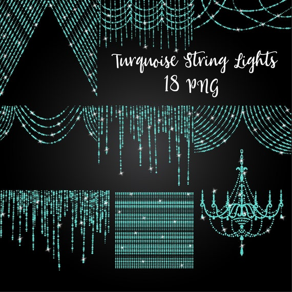 Turquoise Glitter String Of Lights Clipart Fairy