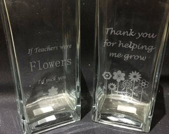 Teacher thank you vase, teacher thank you gift, teacher appreciation present