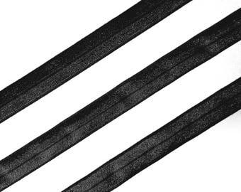 1/5/10mt Black Fold Over Elastic Strap  (FOE) - Shiny/Matt Ribbon for Headband and Lingerie making