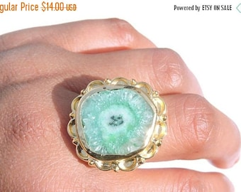 Valentine Day Sale 1 Pc 22 Kt Gld Polished Natural Designer Green Solar Quartz Ring Adjustable Ring/ Gemstone Ring
