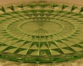 Jeannette Glass Green Depression Glass Vaseline Glass Windsor Diamond Serving Tray