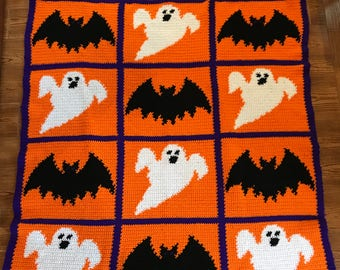 Ghosts and Bats Afghan