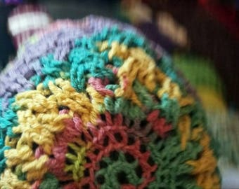 Crocheted cable beanie