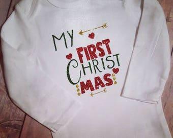 First Christmas Bodysuit/Heat transfer Vinyl Glitter Christmas Suit/Glitter Christmas Girl Infant/Infant Personalized Suit/Custom Bodysuit