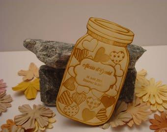 Lot 10 jar 02077 wooden wedding invitation