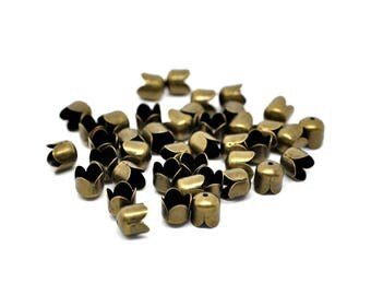 20 embout cloche coupelle en métal bronze 8 x 8 mm
