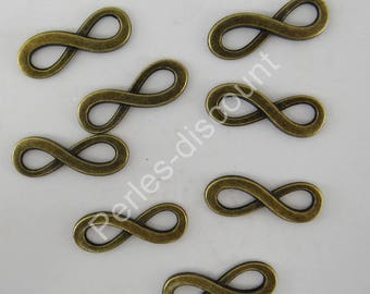 8 metal color bronze bc190 infinity charms connectors
