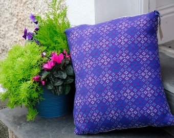 "Welsh Tapestry Cushion, 16x16"" handmade cushion, purple and blue vintage welsh tapestry fabric, welsh blanket cushion, handmade in Wales"