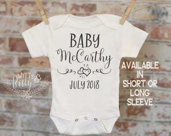 Baby Coming Soon Pregnancy Reveal Onesie®, Reveal to Husband, Pregnancy Announcement, Customized Onesie, Coming Soon Onesie - 375B