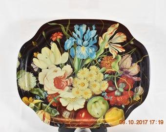 Vintage Elite Tin Serving Tray, Vintage Serving Tray, Serving Tray, MTM, Floral Serving Tray, Retro Kitchen, Serving Platter, Vintage Tray