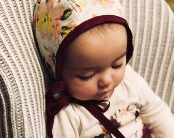 Reversible Baby Girls Floral /Grey Vintage Style Bonnet - Free Shipping in US