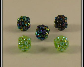 set of 5 blue and green shamballa beads 12mm holographic