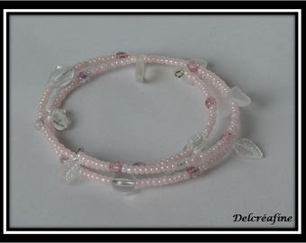 Pink and white beads on memory Wire Bracelet