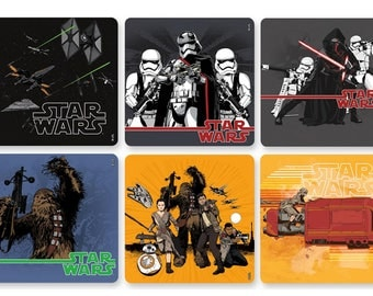 "30 Star Wars Force Awakens Stickers, 2.5"" x 2.5"""