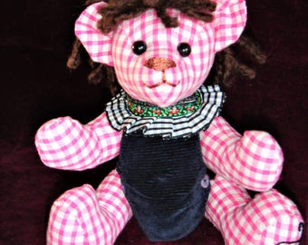 Bear in pink gingham is 20 cm model hand wicked Jimmy copy of vintage