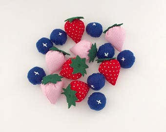 Free Ship! Felt food set, fabric strawberries and felt blueberries