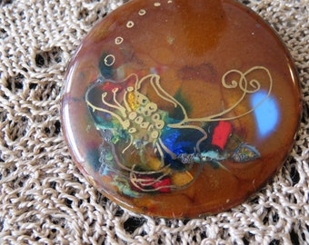 Beautiful One of a Kind Vintage Pin with Vibrant Rainbow Foil Colors and a Delicate Gold Flower Design Painted Over-top