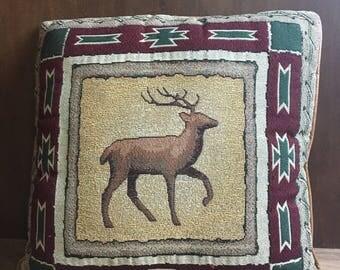 Vintage Aztec Deer Throw Pillow