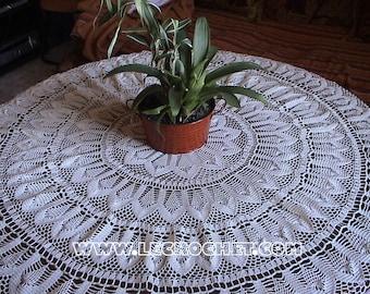 Handmade beautiful tablecloth crochet 120 cm in diameter