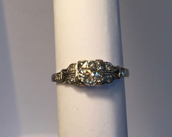 Vintage 1920s Platinum Diamond Engagement Ring size 5.5