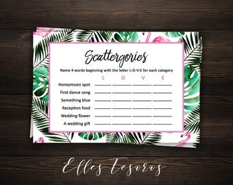 Scattergories Tropical Bridal Shower Games Flamingo Bridal Shower Game Printable Tropical Shower Game Palm Couples Games Instant Download