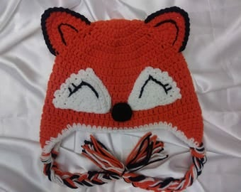 FOX Hat , Crochet Fox Hat Orange , Animal Hat , Baby Fox Hat.Free shipping