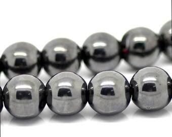 PP02 - Set of 10 beads Hematite 10 mm black
