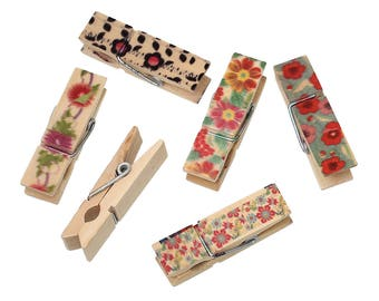15 - Set of 2 clothespins wooden painted flower 4.5 cm