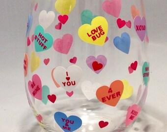 Valentine Stemless Wine Glass, Candy Hearts, Valentine's Day, Valentine Gift, Wine Glass, Girlfriend, Boyfriend, Sweetheart, Wife, Husband
