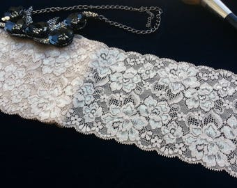 1yd (0.91m) of Raschel Stretch Lace- Beige and creamy floral pattern - 13cm(5.1inch) Wide,RL_SL021