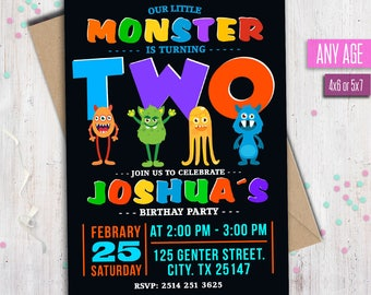 Monster Birthday Invitation, Little Monster Invitation, Monster Party Invitations, Any age.