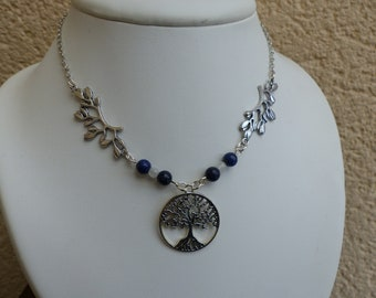 tree of life necklace lapis lazuli, Moonstone