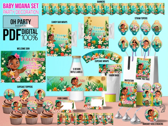 Baby moana party kit print yourself baby moana party supplies baby il570xn stopboris Images
