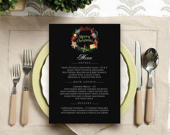 Chalkboard Christmas Menu Printable Dinner Menu Christmas Wreath Menu Winter Party Menu Cards Template Holiday Menu Merry Christmas Menu PDF