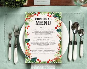 Christmas Party Menu Printable Menu Cards Winter Holiday Menu Dinner Menu Christmas Menu Berries Pinecone Winter Menu Editable text Template