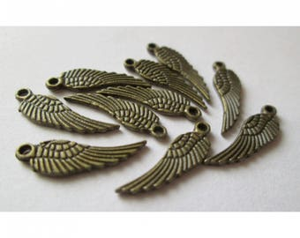 10 16mm bronze wings charms