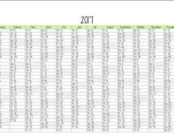 "Annual Calendar ""Sugar Snow"" A5 Filofax/Kikki K"